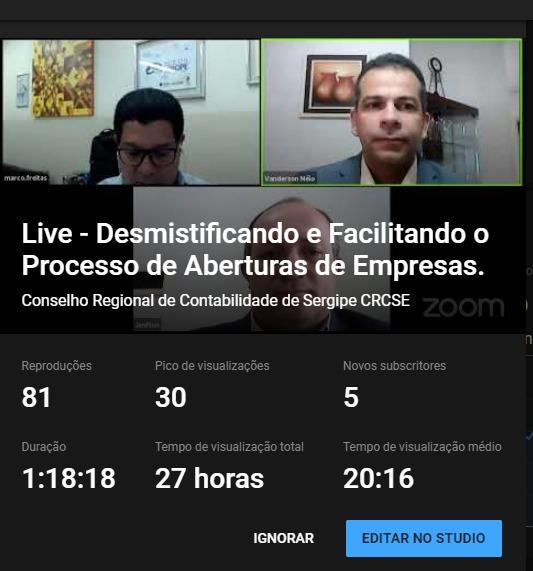"""JUCESE e CRC-SE realizam """"live"""" para esclarecer dúvidas de contadores"""